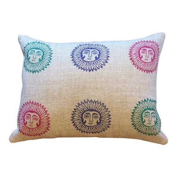 Natural linen pillow | Irish linen pillow|block printed decorative cushions| multi coloured sun lady design pillows |gift idea|Anniversa