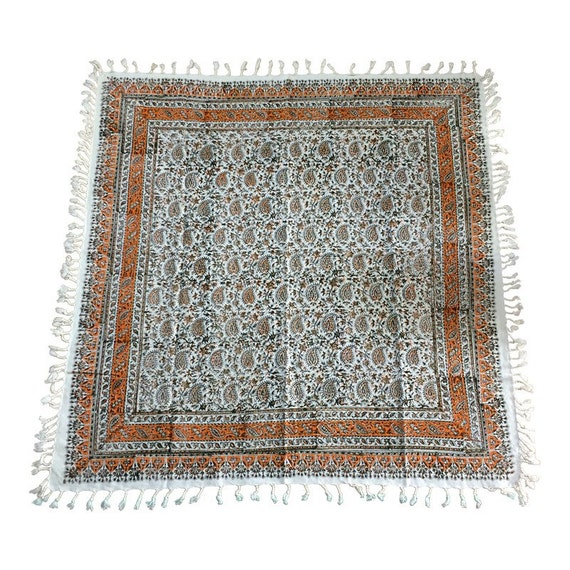 Square tablecloth, hand printed natural colour 39 inches with tassels, vintage textile, quality fabric, wall tapestry
