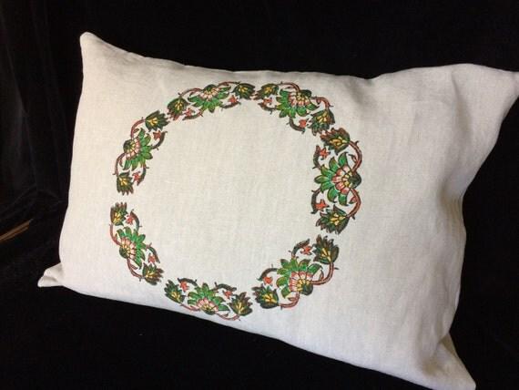 """Handmade natural linen green flowers bed pillow,block printed linen,linen pillow, lumbar pillow 19""""x 28"""",linen pillowcase,Eco friendly"""