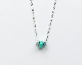 Hex nut necklace (green)