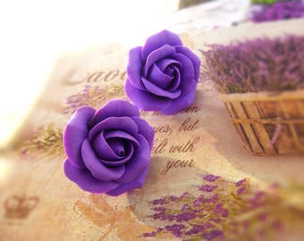 Rose earrings Lavender stud earrings Bridal Earrings Cute earrings Purple rose earrings Purple earrings