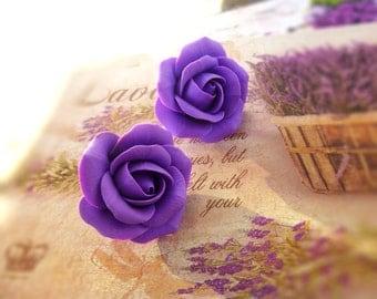Lavender stud earrings Bridal Earrings Cute earrings Purple rose earrings Purple earrings Rose earrings