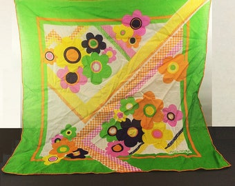 Fisba Stoffels Vintage Scarf 26 Inch Square All Cotton Lime Green Day Glo 1960s Fashion Accessory Hawk V Clothing