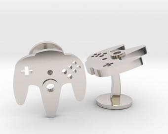 Nintendo N64 Cufflinks | Video Game Controller Cuff Links | Geek & Gaming Wedding Cuff Links | Silver | Gold | Bronze | Rose Gold