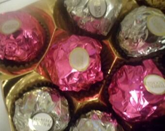Pink and Silver Ferrero Rocher Wedding Chocolates