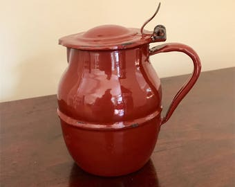 Vintage French enamel small jug with lid