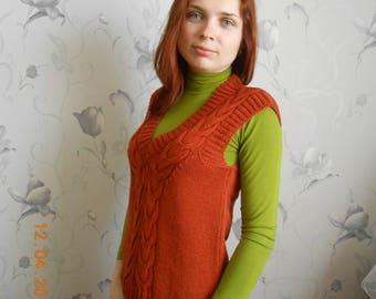 Orange women's vest with v-neck Cotton knitted vest Classic vest Sleevless vest Knit sweater vest Knit vest Women's clothing  Sweater