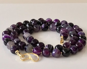 Purple Agate Gold Long Necklace -Agate Necklace -Gold Necklace -Purple Long Necklace -Beaded Necklace -Gift for Her -Handmade -UK Shop