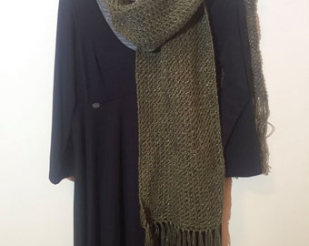 SALE, Hand knitted scarf, long - scarf with glitter, handmade, hand knit scarf, hand knit, olive green, long scarf, evening scarf