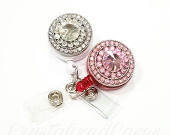 Diamond badge reel, bling badge holder, crystal belt clip, rhinestone id badge, crystal badge reel,
