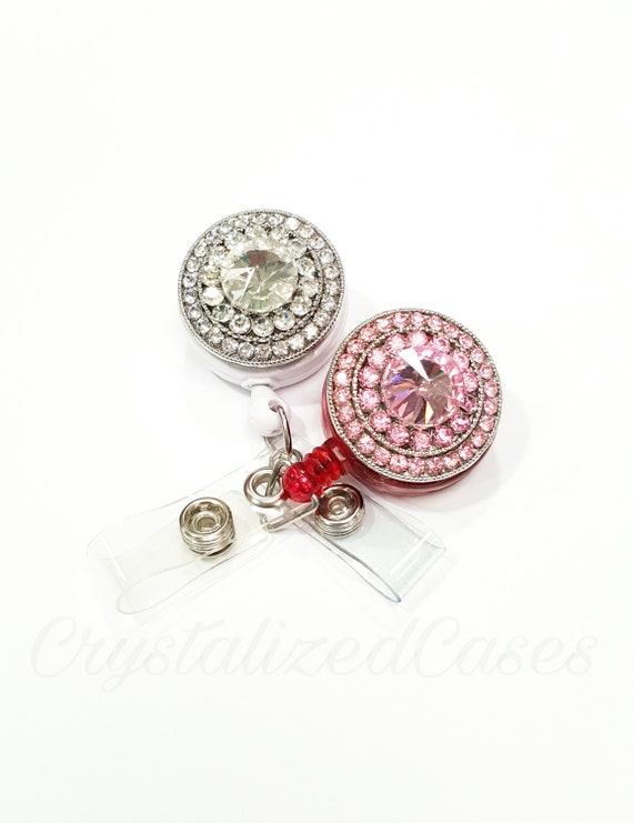Diamond badge reel, bling badge holder, crystal belt clip, rhinestone id badge, crystal badge reel,