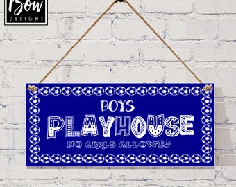 BLUE boys playhouse den sign, footballs, boys only