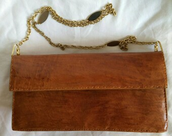 Handbag in leather and chain Golden Vintage
