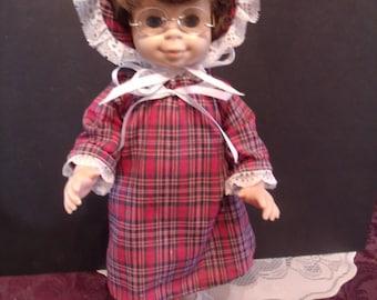 Vintage Hard Plastic Doll With Granny Glasses, (# 773/45)