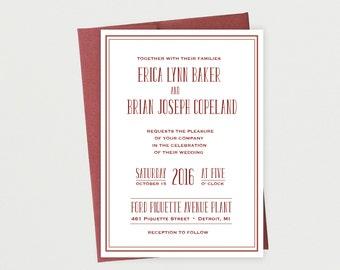 Vintage, Industrial, Urban, Wedding Invitation Suite Printable Template