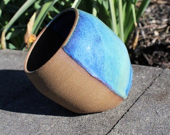 Salt Pig - Dark Red Clay with Blue and Green Glaze