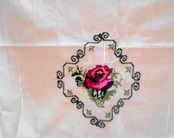 Natural linen rose embroidered tablecloth - natural fabric tablecloth - cream
