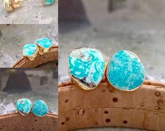 turquois stud earrings, turquoise gold stud,