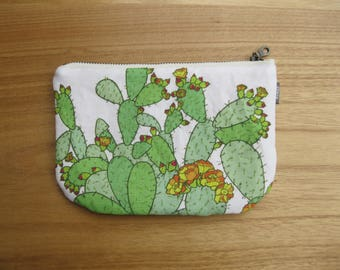Prickly Pear Cactus Fabric Pouch - Zipper Pouch Bridesmaid Gift, Gift for Her. Succulent Cactus Print Bag, Southwest Style