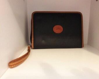 Vintage Black and Tan Dooney & Bourke Dayplanner Wristlet