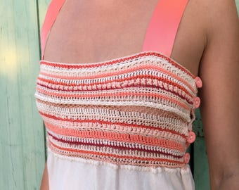 Salmon color crochet dress