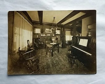 1920's Photograph Interior of an Arts & Crafts  Mission Style Home 5x7