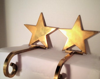 Vintage Brass Star Christmas Stocking Hangers/Holder-Brass Christmas Decoration-Heavy/Solid Brass (Set of 2) Made in India-Free Shipping!