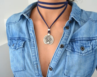 Leather Wrap Necklace, Leather Coin Necklace, Wrap Choker Necklace, Tie Up Bolo Necklace, Bohemian Leather Jewelry, Suede Coin Jewelry