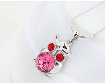 Owl Gemstone Necklace (Rose)