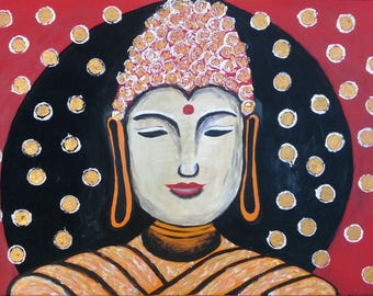 Textured abstract modern acrylic painting on canvas uplifting new beginnings 60 x 90cm peace peaceful buddha spiritual