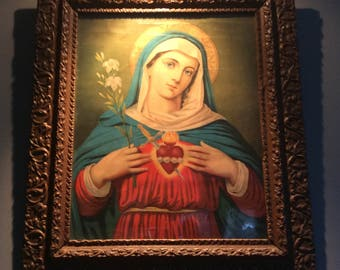 Antique Sacred Heart of Mary Lithograph
