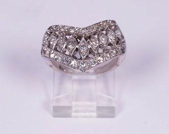 14K White Gold Fancy Diamond Band , size 6.5
