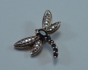 925 Sterling Vermeil Dragon Fly with Sapphires