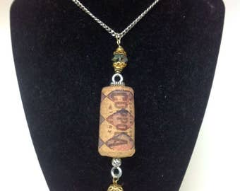 Upcycled wine cork necklace with embelishments
