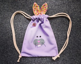Bunny Mini.Re.Pack. backpack, Recycled backpack, upcycled bag, street backpack, drawstring backpack, kids pack