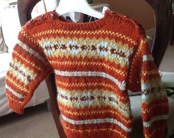 Handknitte Fair Isle sweater in rust for 2-3 yr old