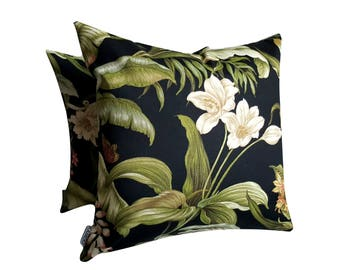 Dark Tropical Cushion Cover, Square Cushion Cover, Indoor Outdoor Cushion Cover, Outdoor Pillow, tropical decor Cushion, Floral Pillow