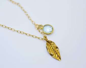 Gold Necklace/ Gold Leaf Necklace/ Gemstone Necklace
