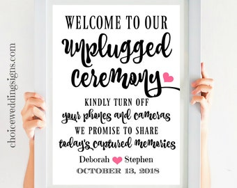 Unplugged Ceremony Printable , Wedding Welcome Sign, No Cell Phone Sign, Calligraphy Wedding Sign, Signs For Weddings SKU# CWS303_1922C