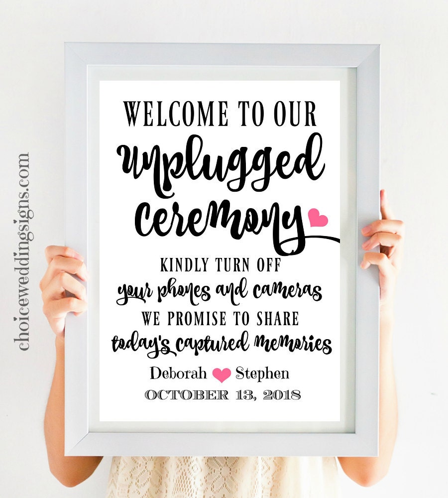 unplugged ceremony printable wedding welcome sign no cell phone sign calligraphy wedding sign