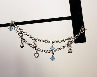Vintage Sterling Silver Anklet, Sterling Silver Charm Anklet