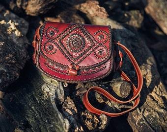 Red Leather Shoulder Bag - Crossbody Bag - Handbag - Ethnic Bag - Messenger Bag- Ladies Handbag - Women bag - Woman Handbag - evening bag