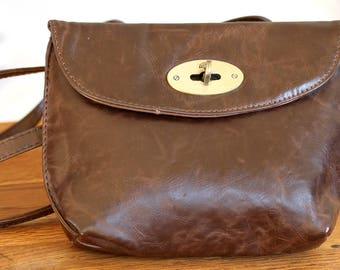 MULBERRY Mini leather Shoulder Bag, Brown Mulberry Cross Body Bag, Mini Mulberry Travel Bag, Clubbing Leather Bag