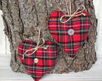 Tartan Fabric Heart,Tartan Heart,Fabric Heart,Hanging Heart,Handmade Heart,Tartan Heart,Tartan Fabric,Tartan,Set of 2 Tartan Hearts