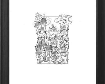 Detailed Original Handmade Fantasy Illustration (Trolltooth Bridge)