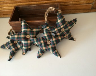 Set of 4 Plaid Star Ornaments/Fillers with rusty bells. Perfect accent for your country, prim or rustic decor-s707