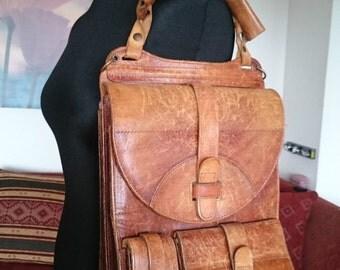 Vintage Messenger bag leather very robust Cognac Brown A4 format brushed uni