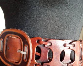 Vintage leather belt Brown robust ethnic boho style 80's