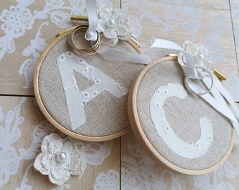 Duo doors-Alliances Lin & initial in English - French Lucy Jeanne Collection Creation - decoration of wedding embroidery