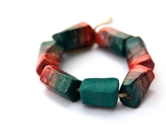 Ombre ceramic beads, clay beads, from pink to blue gradient, faceted beads, matte blue-green bead, fullofspace